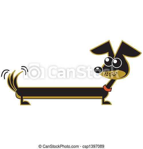 teckel, art, dessin animé, agrafe, chien - csp1397089