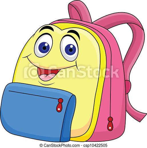 tecken, väska, tecknad film, skola