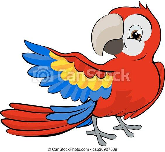tecknad film, papegoja, maskot - csp38927509