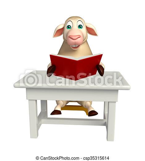 tecknad film, tecken, sheep, stol, söt, bord, böcker