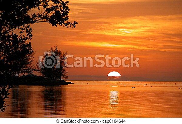 tecla, fiesta, pôr do sol - csp0104644