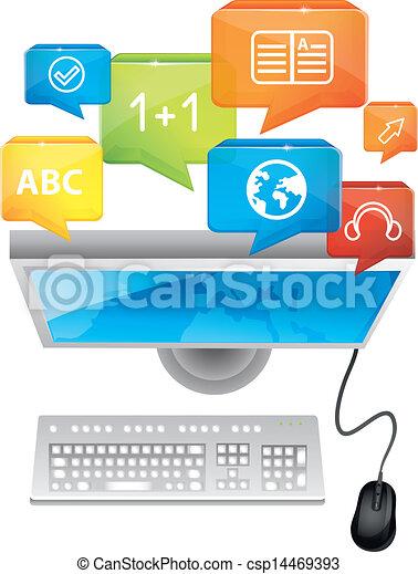Concepto de aprendizaje electrónico, ordenador y teclado - csp14469393