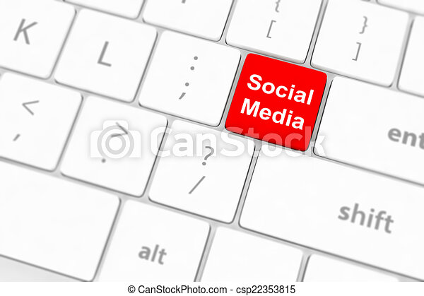 El concepto de las redes sociales sobre el fondo del teclado - csp22353815