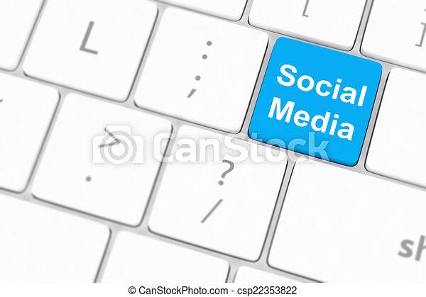 El concepto de las redes sociales sobre el fondo del teclado - csp22353822