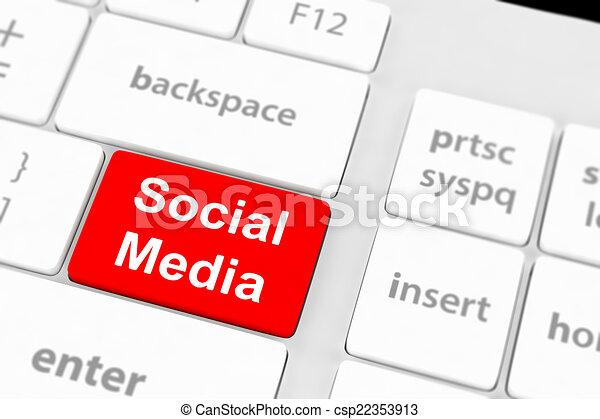 El concepto de las redes sociales sobre el fondo del teclado - csp22353913