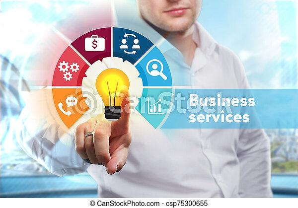 tecnología, joven, concept., word:, servicios, exposiciones, empresa / negocio, hombre de negocios, negocio internet, red - csp75300655