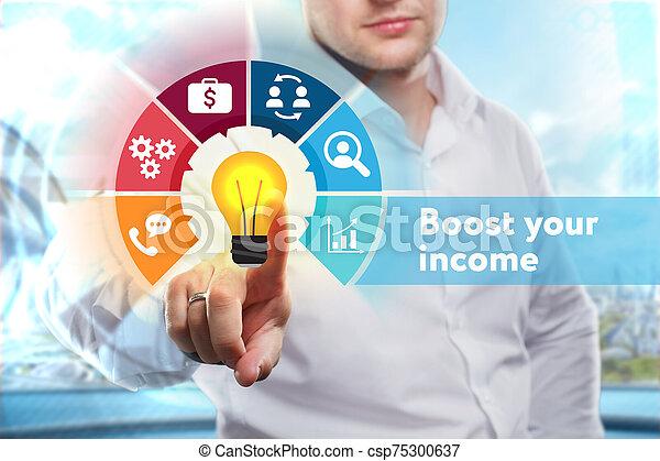 tecnología, joven, ingresos, alza, su, concept., word:, exposiciones, empresa / negocio, internet, hombre de negocios, red - csp75300637
