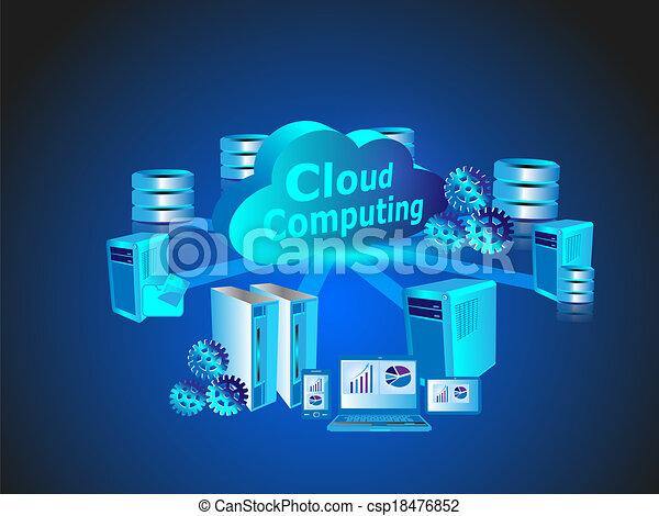 tecnología, red, nube, informática - csp18476852