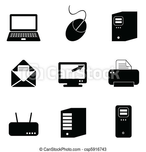 tecnologia computador, ícones - csp5916743