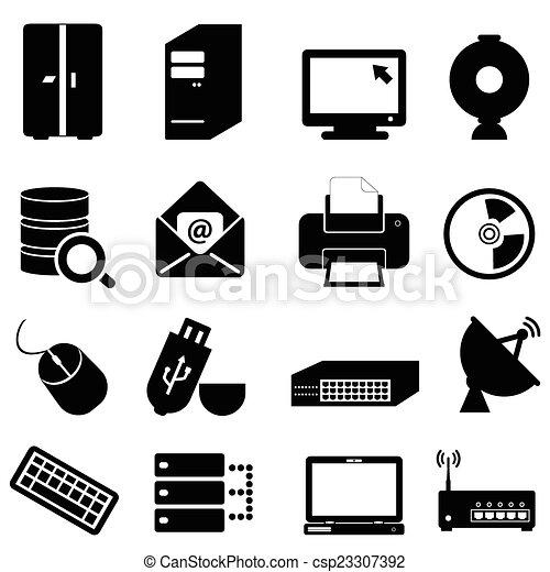 tecnologia informatica, icone - csp23307392