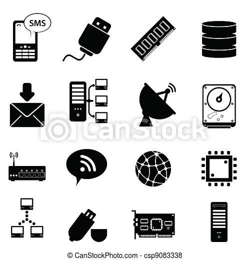 tecnologia informatica, icone - csp9083338