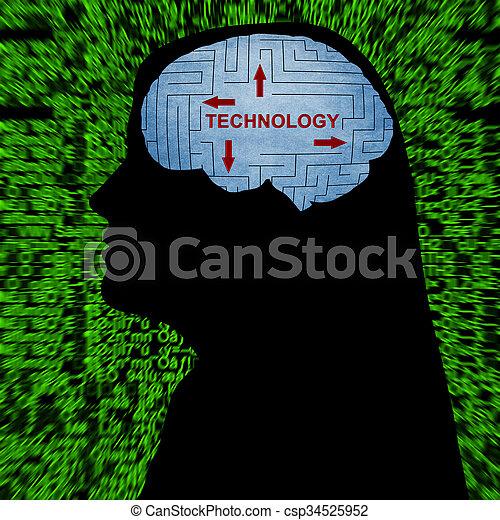 tecnologia, mente - csp34525952