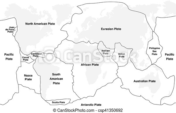 World Map Of Fault Lines.Tectonic Plates Names Tectonic Plates With Names World Map With