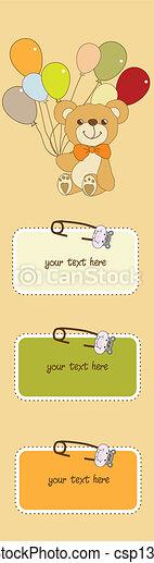 teddy, baby, kaart, schattig, douche - csp13616941