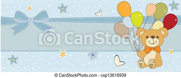 teddy, baby, kaart, schattig, douche - csp13616939