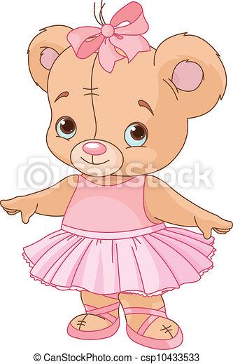 teddy, ballerina, beer, schattig - csp10433533