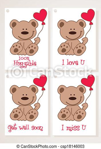 Teddy bear and heart cards. - csp18146003