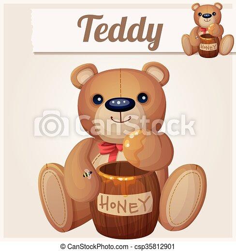 Teddy bear and the barrel of honey. Cartoon vector illustration - csp35812901
