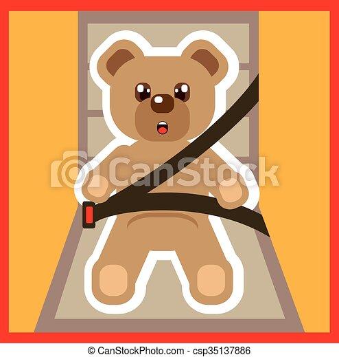 Teddy Bear buckle Up Vector - csp35137886