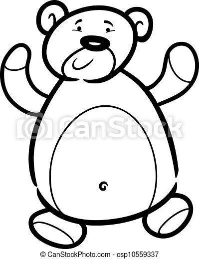teddy bear cartoon for coloring book - csp10559337