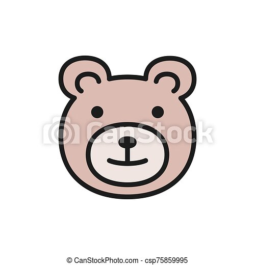 Teddy bear, childrens toy flat color icon. - csp75859995
