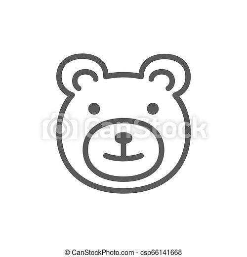 Teddy bear, childrens toy line icon. - csp66141668