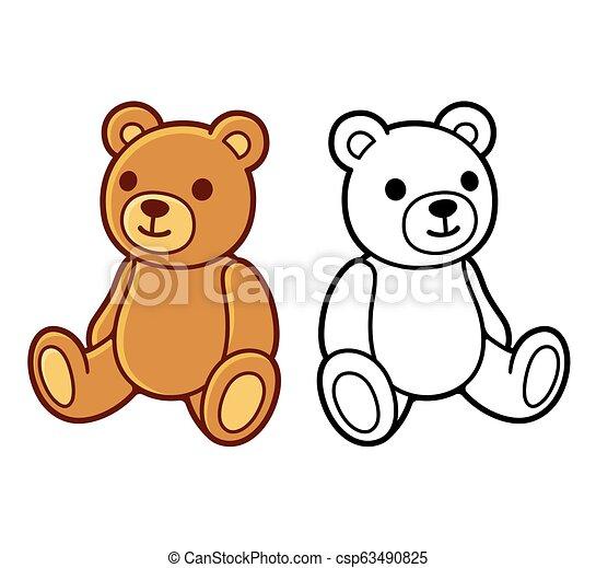 Teddy bear drawing - csp63490825