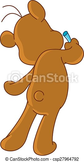 Teddy bear drawing on wall - csp27964792