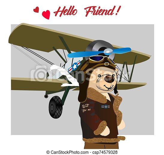Teddy bear drawing. Simpotic bear pilot, preparing for flight. Vector drawing - csp74579328