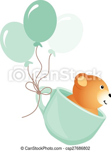 Teddy bear flying in blue cup - csp27686802