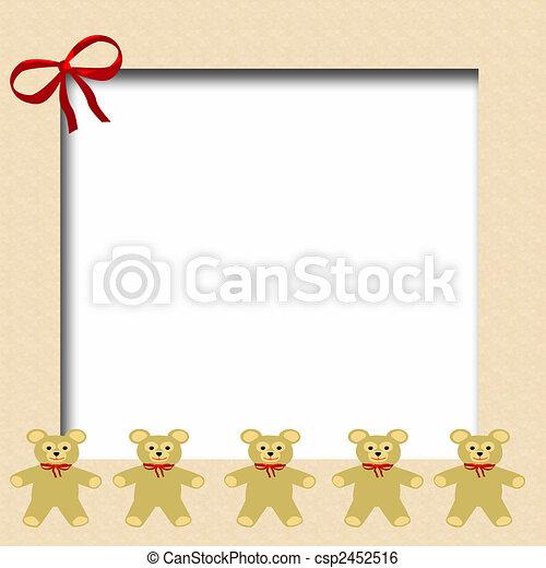 Teddy bear frame. Teddy bears in a row scrapbook frame illustration .