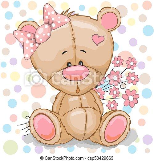 Cute cartoon teddy bear girl with pink flowers teddy bear girl csp50429663 mightylinksfo