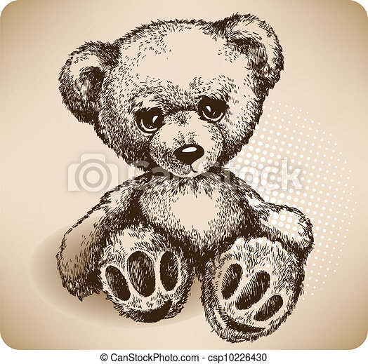 Teddy Bear Hand drawing. vector - csp10226430