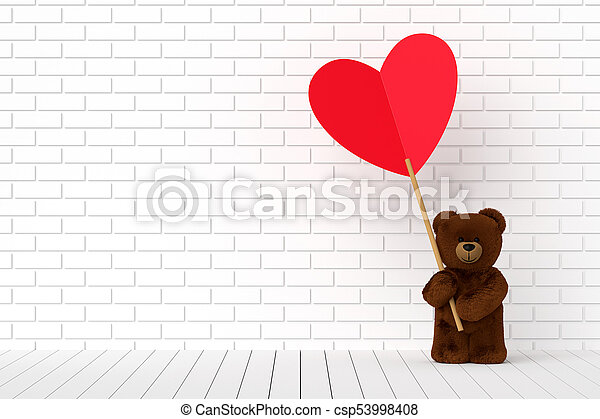 47bd0372 Teddy bear holding a heart-shaped red label