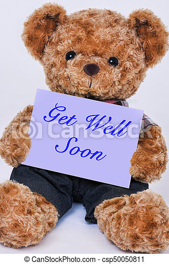 Get well soon stock photos and images 507 get well soon pictures teddy bear holding a purple sign that says get well soon altavistaventures Choice Image