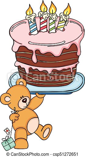 Teddy Bear Holding Big Birthday Cake
