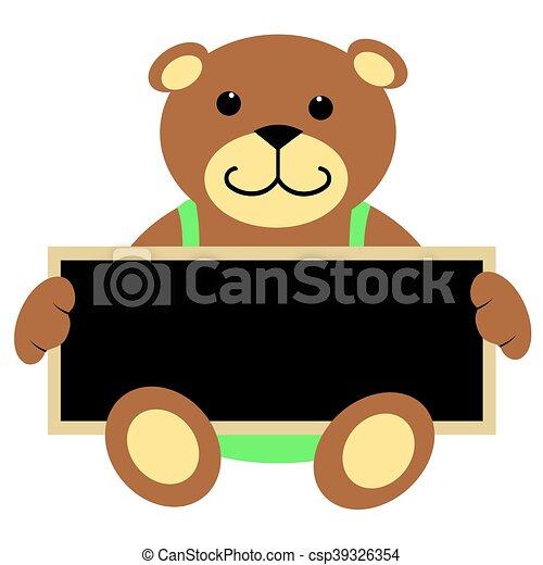 teddy bear holding chalkboard teddy bear holding a blank clipart rh canstockphoto com chalkboard clip art banner chalkboard clipart black and white