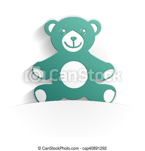 teddy bear icon paper - csp40891292