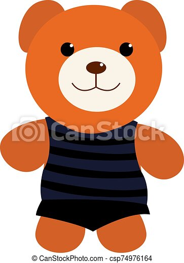 Teddy bear, illustration, vector on white background. - csp74976164