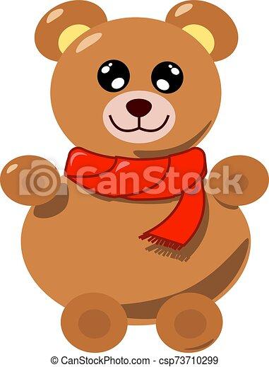 Teddy bear, illustration, vector on white background. - csp73710299