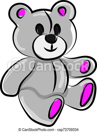 Teddy bear, illustration, vector on white background. - csp73709334