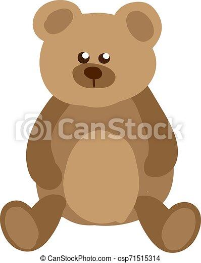 Teddy bear, illustration, vector on white background. - csp71515314