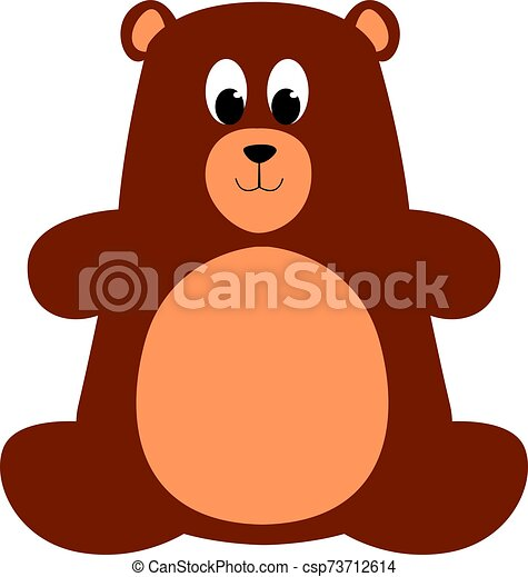 Teddy bear, illustration, vector on white background. - csp73712614