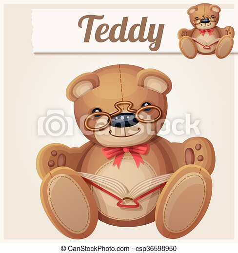 Teddy bear in glasses read the book - csp36598950