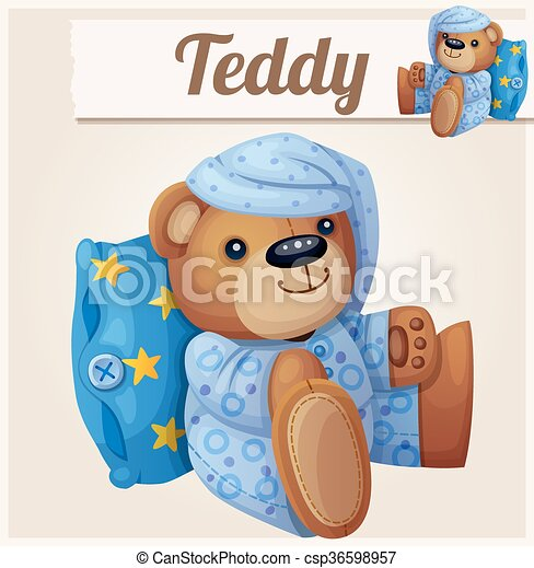 Teddy bear in pajamas with pillow - csp36598957