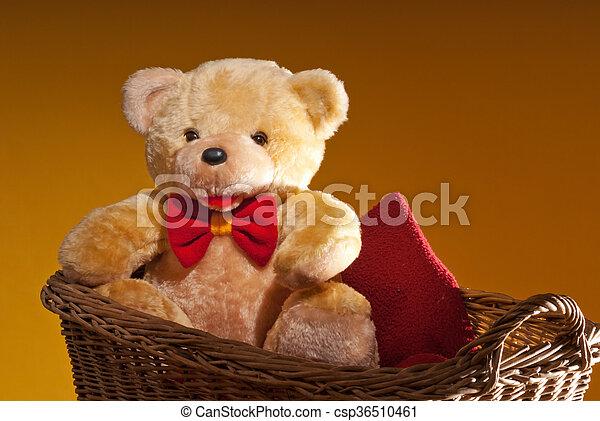 teddy bear is sitting in the wicker basket - csp36510461