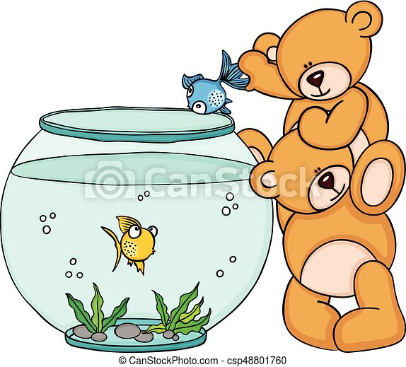 scalable vectorial image representing a teddy bear put a clip art rh canstockphoto com aquarium clip art pictures aquarium clip art free images