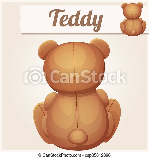 Teddy bear sits back. Cartoon vector illustration - csp35812896