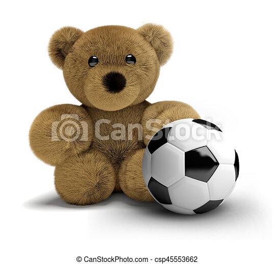 a3da015c Teddy bear soccer football 3d render.