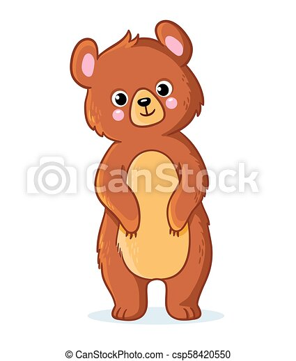 Teddy bear stands on a white background. - csp58420550